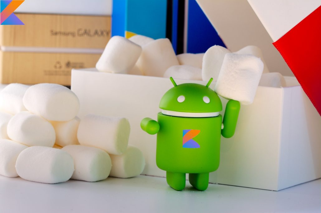 The Android mascot with the Kotlin symbol